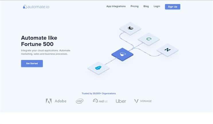 Automate.io web page