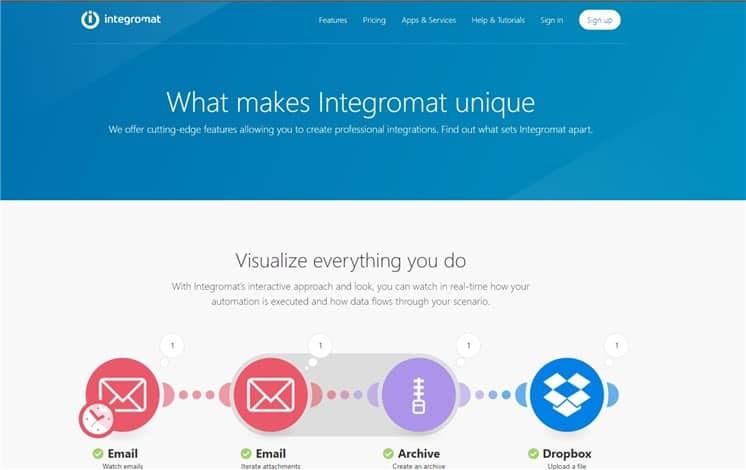 Integromat web page
